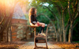 Обои: School Day, яблоко, книги, child photography, девочка, Daydreaming, школьница