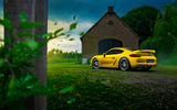 Обои для рабочего стола: Porsche, Rear, Summer, GT4, Nature, Color, Car, Cayman, Yellow