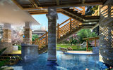 Картинки на телефон: decoration, water, stairs, wood, columns, stone, pond