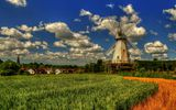 Обои: Lower Mill, England, Вудчерч, мельница, Англия, облака, Kent, Кент, деревня, поле, Woodchurch