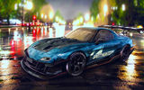 Обои для рабочего стола: Mazda, Drift, Speedhunters, Nigth, Car, RX-7, YASIDdesign, Blue