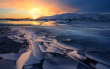 Обои для рабочего стола: Glacier, Freeze, Sunsets, Ice, Iceland, Landscapes, Winter