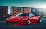 Обои для рабочего стола: Ferrari, Front, 458, Liberty, Body, City, Kit, Italia, Walk, Red