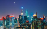 Обои: Китай, Oriental Pearl Tower, огни, Shanghai World Financial Center, города, Shanghai Tower, Шанхай, луна, небо, ночь, горизонт