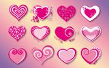 Обои: love, valentine, pink, vector, hearts, red, сердечки