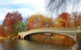 Обои: autumn, landscape, leaves, bridge, парк, мост, река, park, деревья, nature, tree, осень, листья