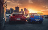 Обои для рабочего стола: Nissan, R35, Cars, Blue, GTR, Sunset, Japan, Legend, Red, R34, Skyline, Rear