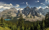 Обои: Moraine Lake, Canada, озеро, лес, Alberta, горы, Valley of the Ten Peaks, панорама, Banff National Park