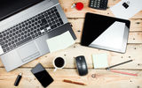 Обои: notebook, desk, mouse, tablet