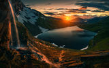 Обои для рабочего стола: Northern, Lake, Sunrise, Norway, Mountains, Sunset, Norway