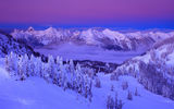 Обои для рабочего стола: Lanscape, Clouds, Mountain, Sky, Winter, Purple, Snow