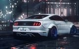Обои: Ford, GT, Rear, 2016, Night, RTR, Car, Musle, Rain, Mustang