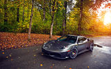 Обои: asphalt, wheels, 430, silver, trees, tuning, green, sun, ferrari, leaf, autumn