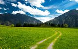 Обои для рабочего стола: sky, mountains, trees, pasture, beautiful nature, clouds, green field, the bavarian alps, landscape