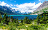 Обои: ели, озеро, saint mary lake, горы, glacier national park
