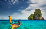 Обои: railay beach, пляж, скалы, лодка, thailand, острова, таиланд