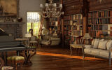Обои для рабочего стола: victorian, book, read, nice, wood, books, library, wide, table, room, vine