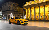 Обои для рабочего стола: Mercedes-Benz, Front, Yellow, 2015, Place, GT S, AMG, Night, Square, Supercar, город