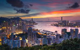 Обои для рабочего стола: hong kong, evening, china, dawn, skyscrapers, victoria harbour, city, braemar hill
