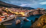 Обои: David Curry, Dubrovnik, дома, вечер, Дубровник, горы, Сroatia, Хорватия, море, город