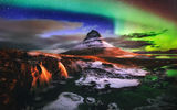 Обои для рабочего стола: waterfalls, Iceland, mountain Kirkjufell, light, night, Northern lights