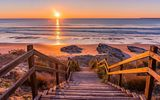 Обои: ladder, sea shore, horizon, sunset
