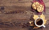 Картинки на телефон: autumn, осень, book, кофе, cookies, cup of coffee, leaves, wood, fall