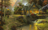 Обои для рабочего стола: thomas kinkade, томас кинкейд, art, Stillwater cottage, cottage, painting
