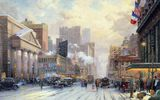 Обои: Thomas kinkade, city, painting, street, snow on seventh avenue, 1932, art, snow, new york, winter