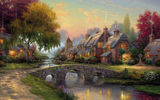 Обои для рабочего стола: thomas kinkade, summer, bridge, art, painting, picture, cottage, Cobblestone bridge