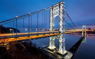 Обои США, Manhattan, Нью-Джерси, река, Гудзон, George Washington Bridge, мост Джорджа Вашингтона, Нью-Йорк, USA, город, Манхэттен, дорога, New Jersey, New York City, NYC, огни, Hudson River