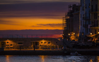 Обои water, sunset, night, port