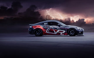 Картинка Subaru, Pikes, Attack, Peak, BRZ, Side, Clouds, Airstrip, Lightning