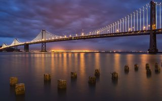 Обои South Beach, San Francisco, мост, Bay Bridge, вечер, огни, Dusk, US, CA