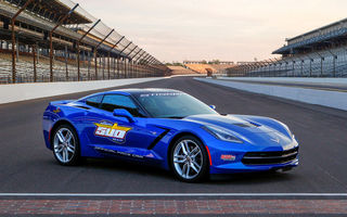 Обои Chevrolet, синий, автомобиль, Corvette, трасса, Pace Car, Stingray, C7, Indy 500, ограда