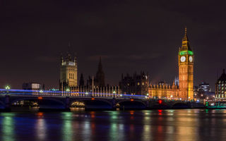 Картинка ночь, Big Ben, мост, город, London, Houses of Parliament