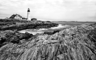 Обои пейзаж, маяк, Maine, скалы, Portland Head Light, океан