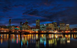 Обои USA, Portland, night, City, houses, мост, США, Oregon, дома, ночь, побережье