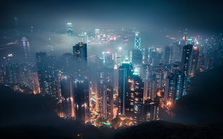 Обои Hong Kong, Китай, здания, cityscape, buildings, огни, полночь, lights, туман, mist, городской пейзаж, China, midnight, Гонконг