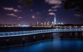 Обои Hoboken, Architecture, Landscape, City, Sky, Exposure, Purple, New York, Long, Night, Travel, Discover