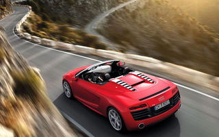 Обои Audi R8, Cabrio, Road, Mountain, Motion, Red