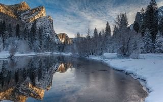 Обои winter, merced river, Yosemite National Park