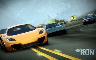 Обои need for speed the run, гонка, скорость, McLaren MP4-12C, zonda, суперкары, поворот, погоня, полиция