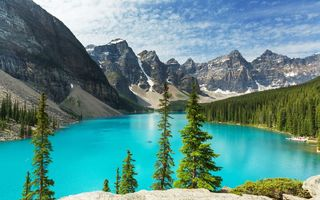 Обои landscape, Canada, lake, лес, Moraine, озеро, Banff National park