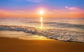 Обои море, sunset, закат, beach, wave, sea, sand