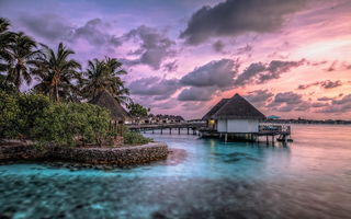 Обои Maldives, дома, море, пейзаж, закат