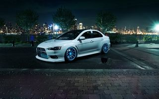 Картинка эволюшн, белый, white, Vossen Wheels, Mitsubishi, лансер, X, 10, митсубиси, брусчатка, Evolution, Lancer, ночь