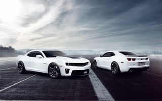 Обои Chevrolet, камаро, шевроле, white, muscle car, Fernandez World Photography, Camaro, мускул кар, белый, ZL1