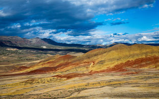 Обои тучи, горы, Eastern Oregon, USA, The Painted Hills, небо, пустыня