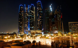 Картинка UAE, Dhabi, night, city, Etihad, Towers, Abu